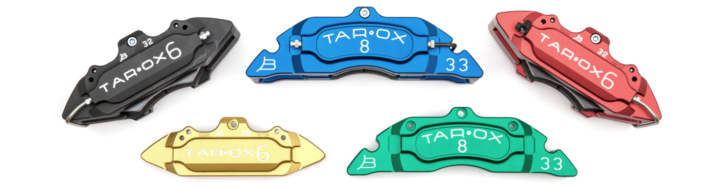 tarox calipers available in green, blue, gold, black and red.